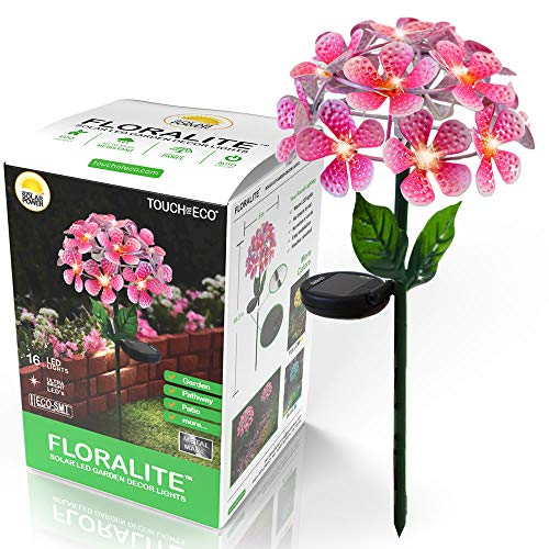 Touch Of ECO FLORALITE Solar LED Metal Flower Stake Light (Pink)