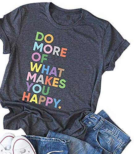 DUTUT Women's Fun Happy Graphic Tees Positive Letter Printed Summer Cute Short Sleeve T-Shirts with Saying Dark Grey ()