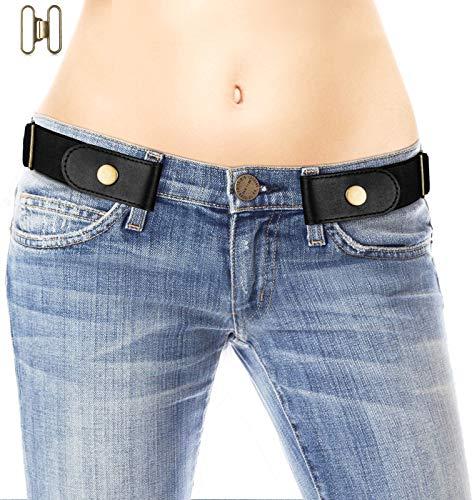 No Buckle Belt for Women/Men - Stretchy Elastic Waist Belts Black S 1 Pack