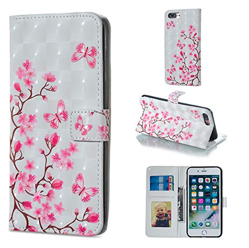 IVY iPhone 8 Plus PU Leather Folio Flip Cover [3D Relief Pattern ][Kickstand] for iPhone 7 Plus Magnetic Wallet Case - Butterfly and Plum Blossom