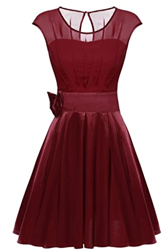 ACEVOG Women Round Neck Bridesmaid Prom Ruffle Chiffon Satin Party Cocktail Dress