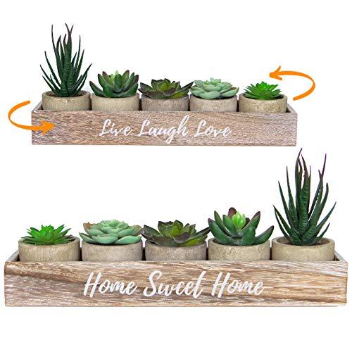 5 Rustic Set Bathroom Decor Home Decor, Kitchen, Coffee Table – Artificial Plants Flowers Succulents, Centerpieces…