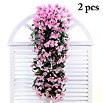 Artificial-Plants-2Pcs-Lily-Flower-Artificial-Flower-Vine-Fake-Flower-Rattan-Hanging-Orchid-Wall-Hanging-Plant-Home-Garden-Living-Room-DecorationWhite