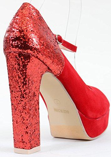 Fourever Funky Damen Peep-Toe-Mary Jane Ferse verstecktem Pumpen Schuhe Rot