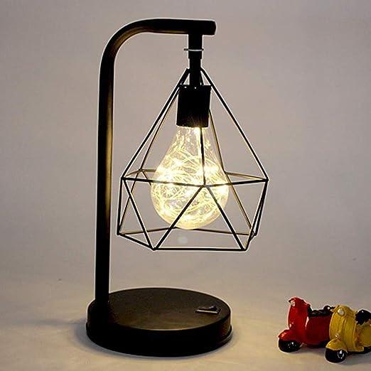 Lámpara de bombilla con forma de diamante de metal retro, lámpara de mesa decorativa, lámpara de atmósfera retro, luz de mesa, lámpara de decoración de luz nocturna, juguete de regalo, (blanco cálido):