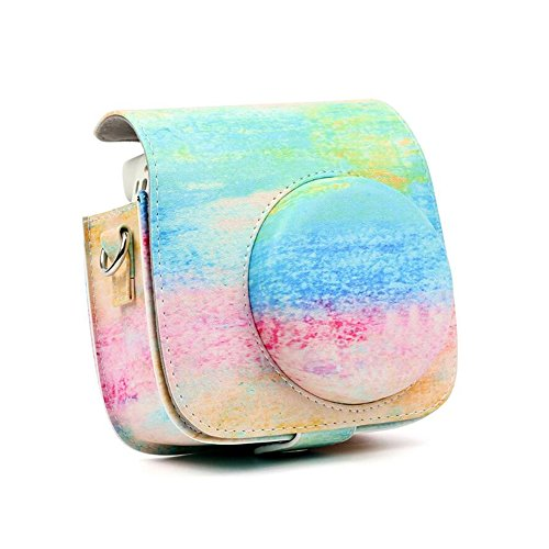 Price comparison product image CLOVER Vintage Oil Painting PU Leather Fujifilm Instax Mini 9 / Mini 8 / Mini 8+ Instant Film Camera Case Bag With a Removable Bag Strap