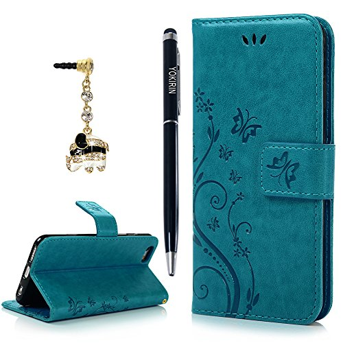 iPhone 6 Case, iPhone 6S Case, YOKIRIN Premium Soft PU Leather Notebook Wallet Cover Embossed Flower Butterfly with Wrist Strap Stand Function Card Holder and ID Slot Flip Folio Protective (Best Halloween Family Movies On Netflix)