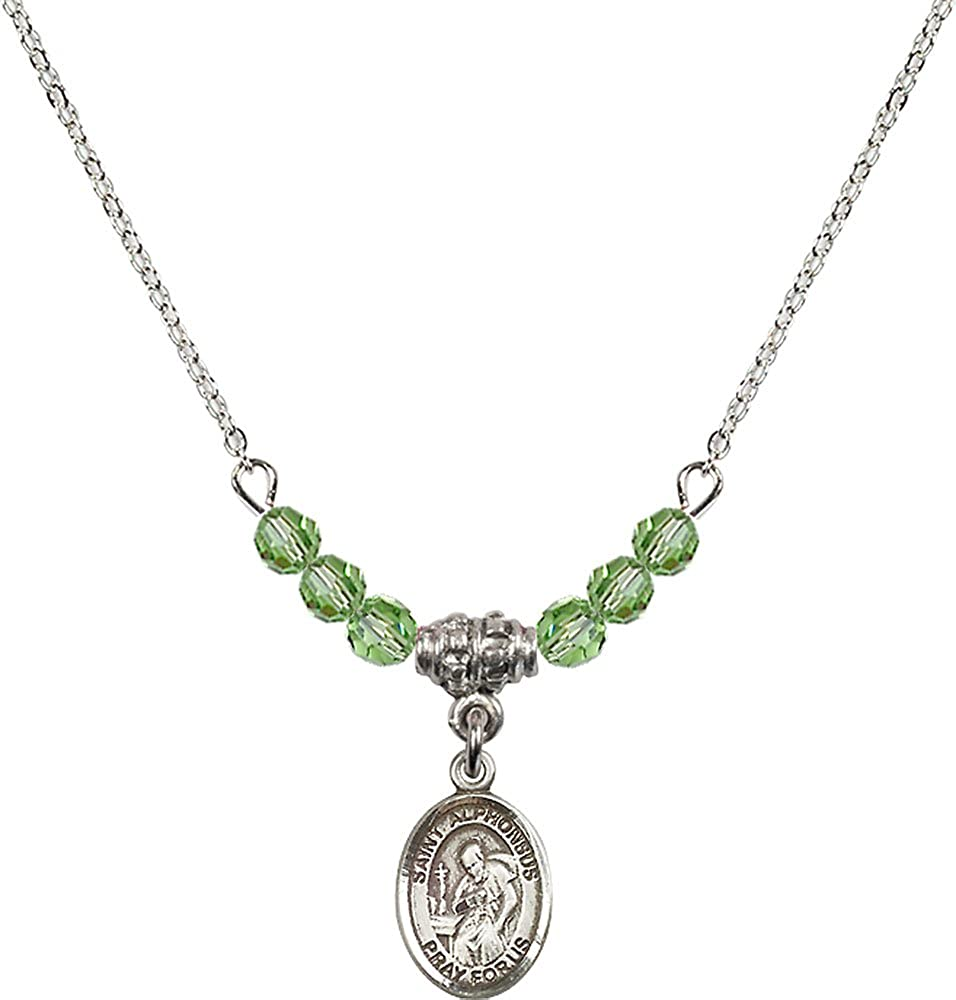 18-Inch Rhodium Plated Necklace with 4mm Peridot Birthstone Beads and Sterling Silver Saint Alphonsus Charm.