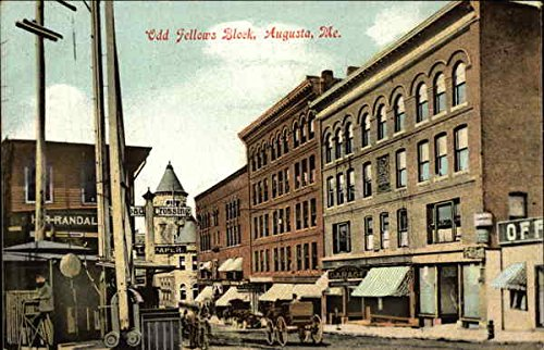 Odd Fellows Block Augusta, Maine Original Vintage Postcard