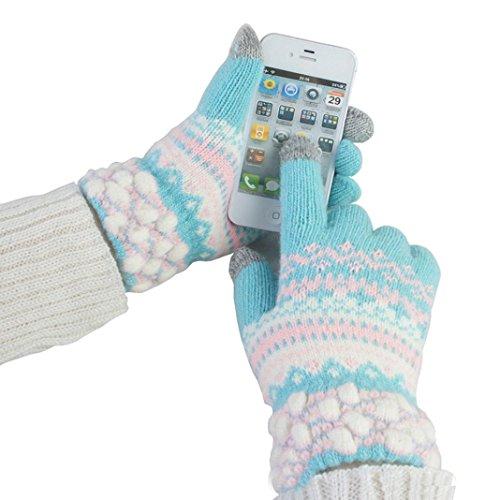 DEESEE(TM) Knit Wool Women Girl Winter Keep Warm Mittens Gloves (Sky Blue)