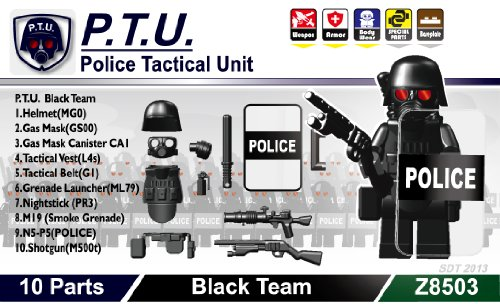 [P.T.U. (Police Tactical Unit) Minifigure Gear Pack, Black] (Toy Gas Mask)