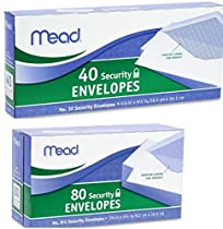 Mead Envelope Set Includes 1box of 40 Ct #10 Security Envelopes & 1box of 80 Ct #6 3/4 Security Envelopes