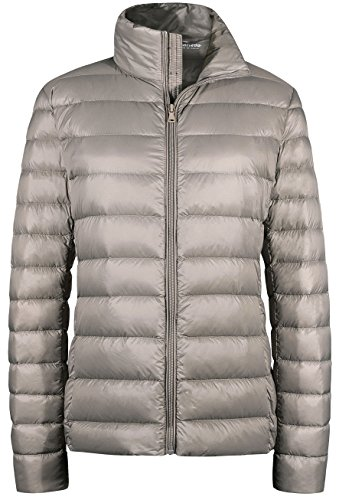 Wantdo Women's Packable Ultra Light Weight Short Down Jacket Khaki