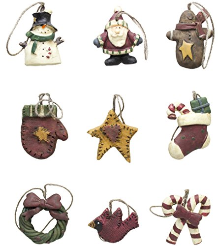 Primitive Christmas Decor - Mini Primitive Ornaments Set/9 (1)