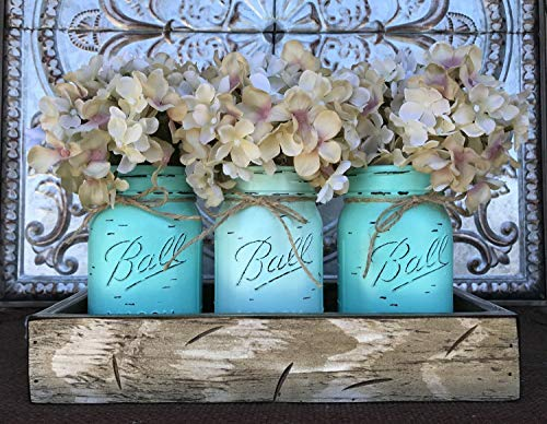 Mason Canning JARS in Wood Antique White Tray Centerpiece with 3 Ball Pint Jar - Kitchen Table Decor - Distressed Rustic - Flowers (Optional) - SEAFOAM, CARIB Blue Painted Jars -