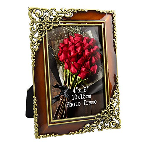 Artsay 4x6 Picture Frame Vintage Metal Photo Frames for Tabletop, Glass Front, 4 x 6 inch