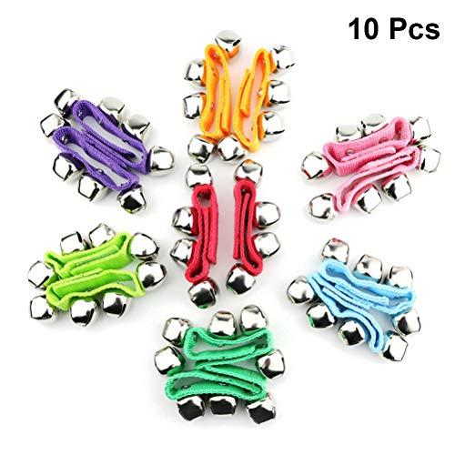 Vosarea 10 Pcs Rattle Bracelet Toys Dance Rattle Bracelet Decorations Kid Performance Props (Colour Mixture)
