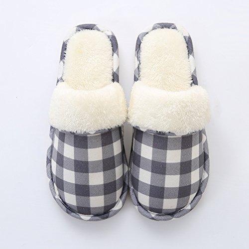 Padded Slipper peluche Chaussures antiglisse Gray d'hiver Cotton chauds Chaussons Femmes intérieur Hommes LaxBa q6zU4W