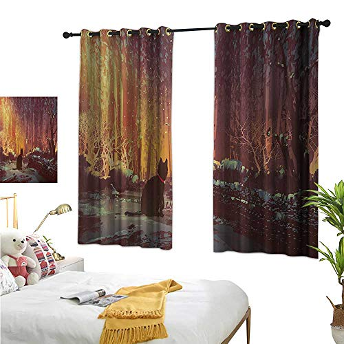 - WinfreyDecor Sliding Curtains Surreal Lost Black Cat Deep Dark in Forest with Mystic Picture Artwork Print 55
