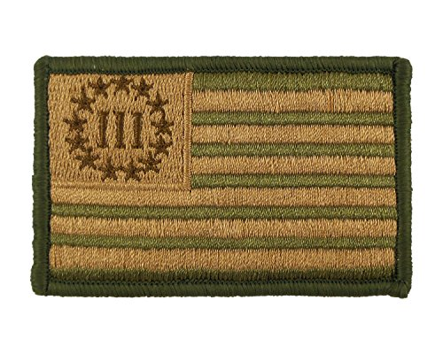 Three Percent Flag Patch Morale Tags Fully Embroidered Tactical Velcro - Oakleys Coolest