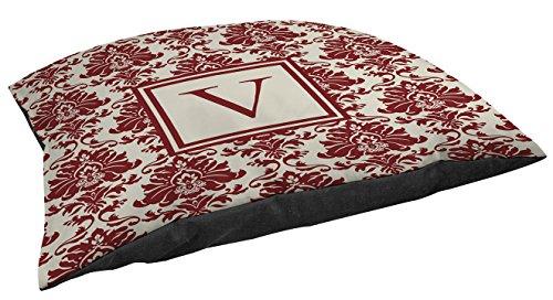 Manual Woodworkers & Weavers Damask Indoor/Outdoor Pet Bed, Monogrammed Letter V, Crimson