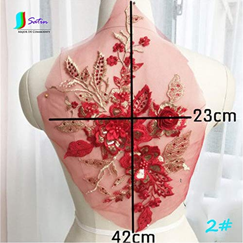 Dalab Colorful Three-Dimensional Beaded Hot Drilling Embroidery Lace Applique Dress DIY Clothing Accessories 1pc/lot S0109M - (Color: No2) ()