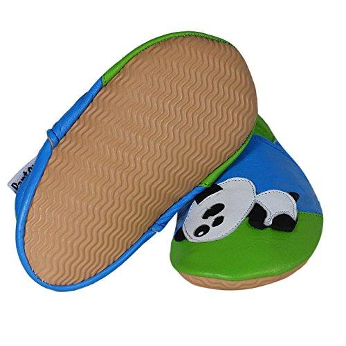 PantOUF Zapatillas de estar Por Casa Niños Bleu-vert avec un panda