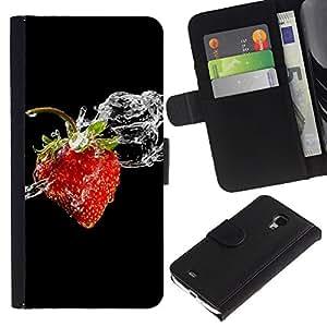 Billetera de Cuero Caso del tirón Titular de la tarjeta Carcasa Funda del zurriago para Samsung Galaxy S4 Mini i9190 MINI VERSION! / Business Style Berry Fruit Black Water