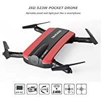 JXD 523W Drone Quadcopter,2.4G 6-Axis Foldable RC Drone with Altitude Hold HD Camera WIFI FPV Drone by OurKosmos (Red)