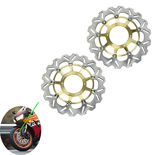 Alpha Rider Motorcycle CNC Stainless Steel Front Left and Right Gold Brake Discs Brake Rotor For Honda CB 1000R 2008 - 2010 | CBR 1000RR 2004 - 2005 | CB1284 CB1300 2003 - 2008