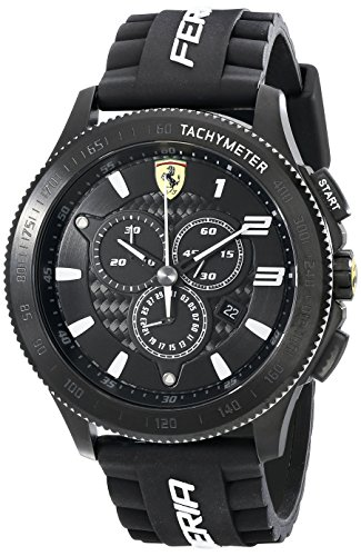Price comparison product image Ferrari Men's 830242 Scuderia XX Black Watch with Silicone Strap