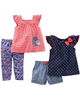 Luvable Friends Girls 6 Pack Tapered Ankle...