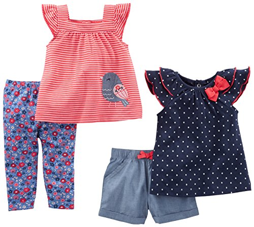 Simple Joys by Carter's Baby Girls Baby 4-Piece Playwear Set, Navy Dot/Red Stripe Bird, 0-3 Months