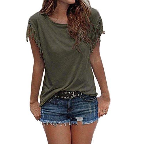 Teresamoon Clearance Sale ! Loose Blouse Women Tassel Top Summer Round Collar Shirt (Army Green, XL)