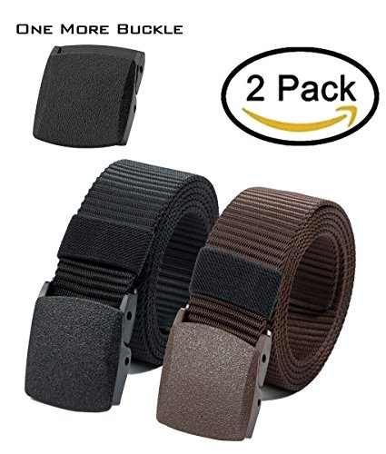 Nylon Canvas Belt Plastic Buckle Belt Hiking Belt Military Tactical Waist Belt 2 Pack by - Fashion Plastic