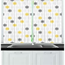 Grey and Yellow Kitchen Curtains by Ambesonne, Moroccan Style Modern Sun Beam Flowers with Rounds Dots Image, Window Drapes 2 Panels Set for Kitchen Cafe, 55W X 39L Inches, Black and Light Grey