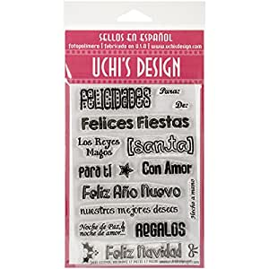UCHIS DESIGN Bilingual Clear Stamp Set Sheet, 4 by 6-Inch, Holydays