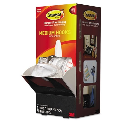 3M Command General Purpose Hooks, Designer, 3 lb. Capacity, White, 50/Carton (MMM17081CABPK)