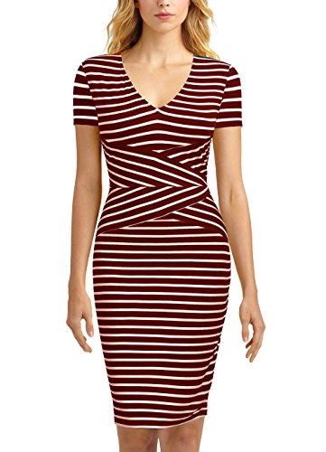 Mmondschein Women Short Sleeve Striped Wear to Work Business Pencil Dress (S, Burgundy) by Mmondschein (Image #1)