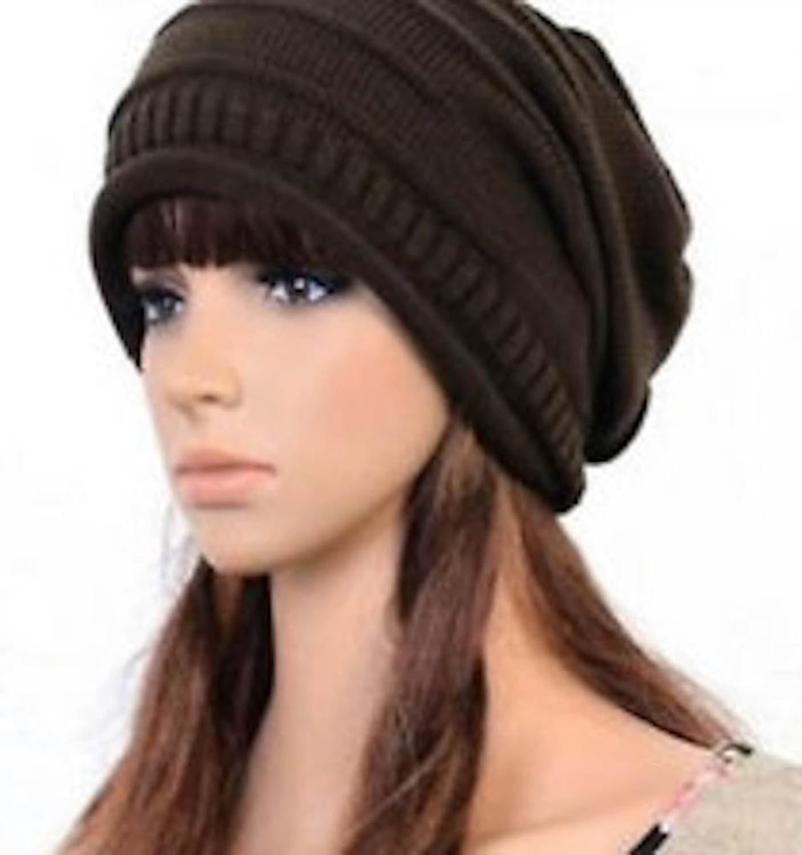 Coffee Winter Baggy Beanie Knit Crochet Ski Hat Oversized Slouch Cap