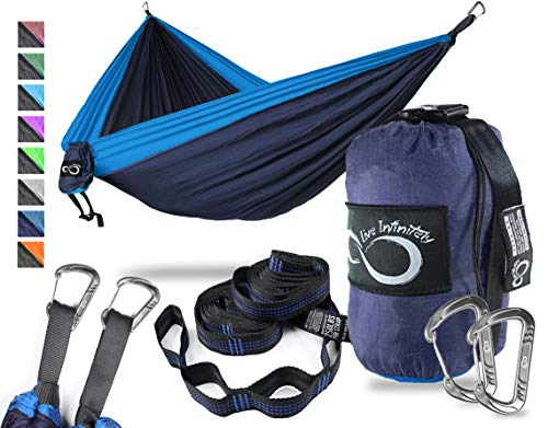 Double Camping Hammock- Best Lightweight & Portable Two Person Hammock Set -Aluminum Wiregate Carabiners, 2- 16 Loop Tree Straps & Compression Strap- Holds 500 LBS -Ideal for Travel -Dark Blue Middle