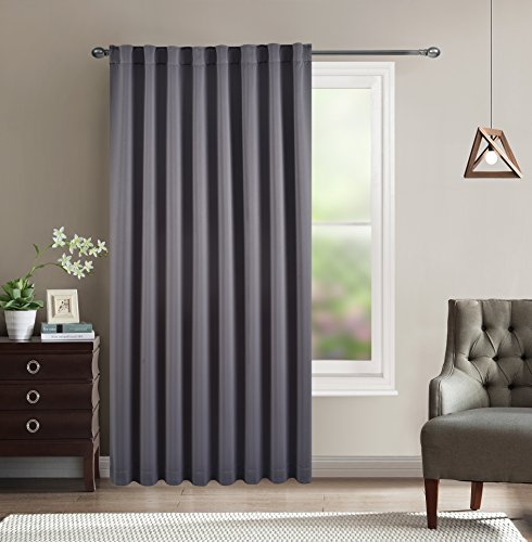 Door Curtain Window Treatment – Energy Smart Rod Pocket / Back Tab Thermal Insulated Extra Wide Solid Blackout Drape for Patio Door and Window by BHU (Dark Grey, W80″ x L84″)
