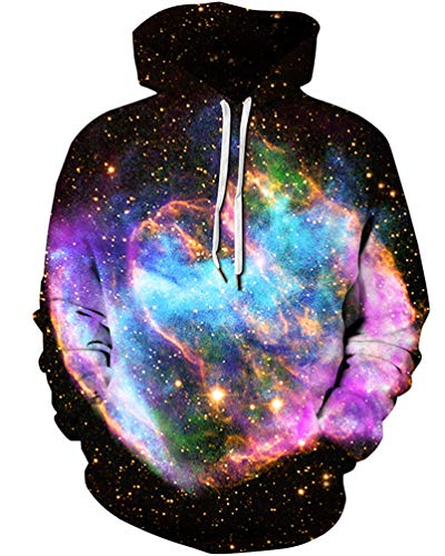 Unisex 3D Novelty Hoodies Galaxy Hoodies Sweatshirt Pockets (l/XL, Colorful Clouds)