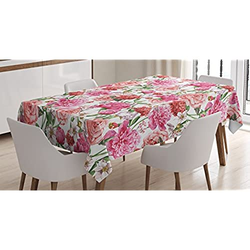 Lovely Flower Decor Tablecloth For Mothers Day By Ambesonne, Peonies And Roses  Victorian Floral Watercolor Painting Style Print, Rectangular Table Cover  For Dining ...