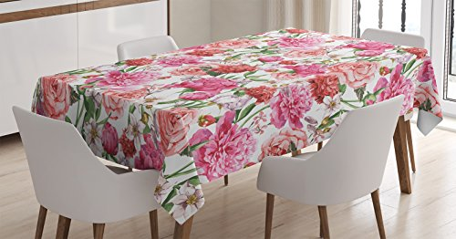 Ambesonne Flower Decor Tablecloth for Mothers Day, Peonies and Roses Victorian Floral Watercolor Painting Style Print, Rectangular Table Cover for Dining Room Kitchen, 60x84 Inch, Pink White