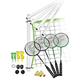 Franklin Sports Badminton Set - Portable Badminton Set - Adult and Kids Badminton Net - Perfect Backyard/Lawn Game - Includes 4 Badminton Racquets - Intermediate