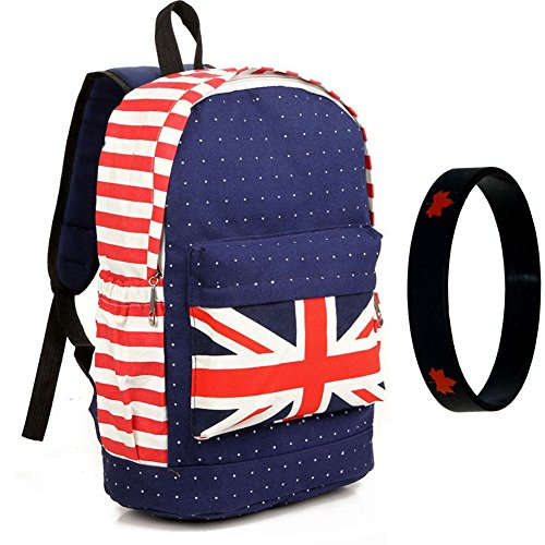 Bestmaple British Flag Union Jack Style Shoulder School Bag Travel Punk Satchel Backpack Red (Union Jack Satchel compare prices)