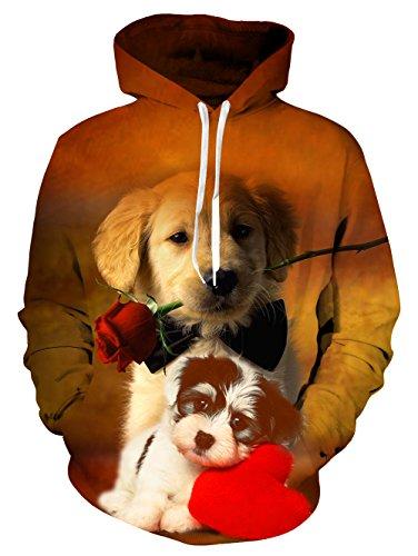 Idgreatim Mens Women Couple Dog Rose Printed Hoodies 3D Graphic Hooded Pullover Sweatshirt Small