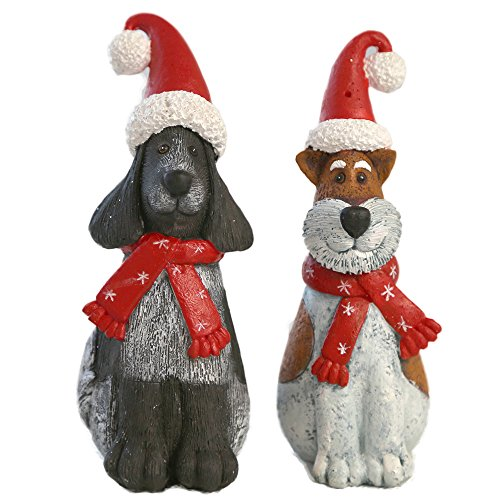 Christmas dogs figurine christmas gift for kids desk for Cat outdoor christmas decorations