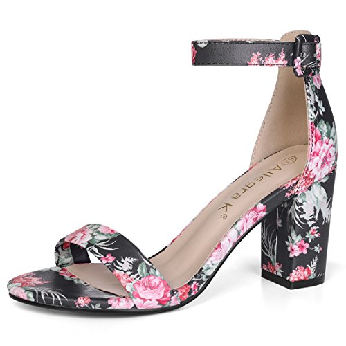 Allegra K Women's Floral Ankle Strap Block Heel Black Sandals - 6.5 M US